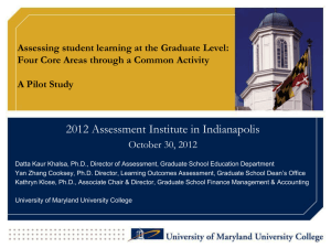 Assessing student learning at the Graduate Level: Four Core Areas