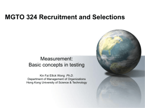 Measurement: Basic concepts in testing