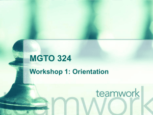 Workshop and Group Project Orientation