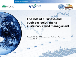 The role of business and business solutions to sustainable land