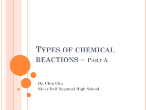 Types of chemical reactions - River Dell Regional School District