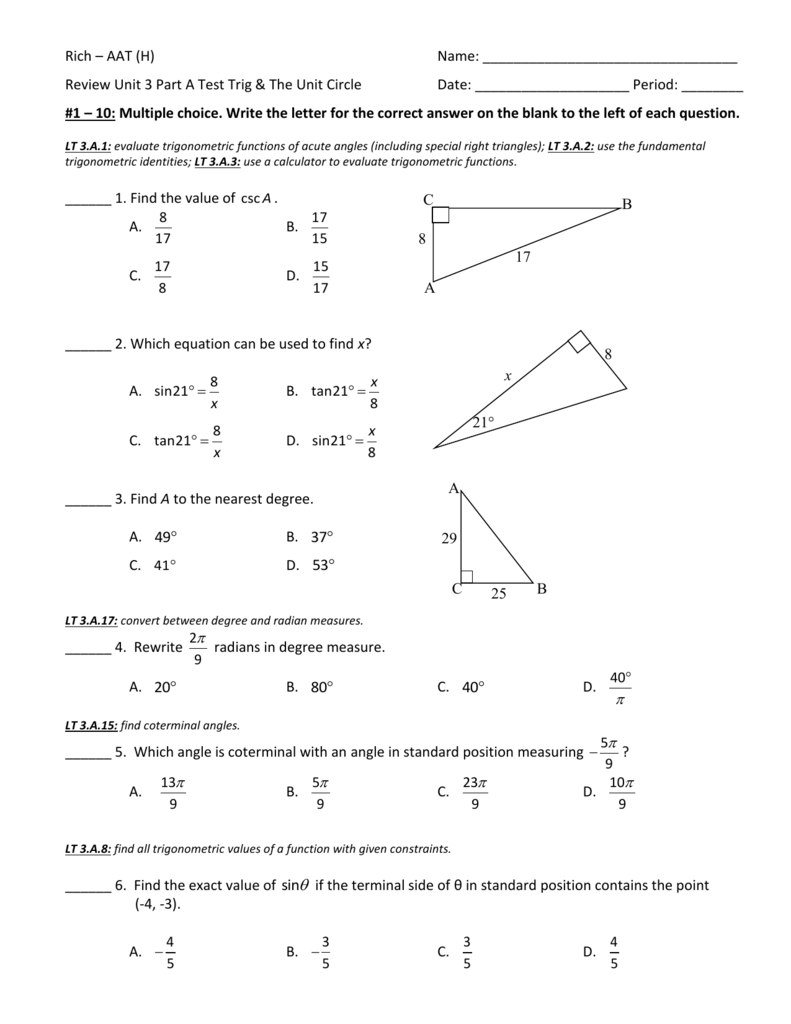 Worksheets Quiz Of Angle Of Depression Circle The Correct Answer review unit 3 part a test trig and the circle