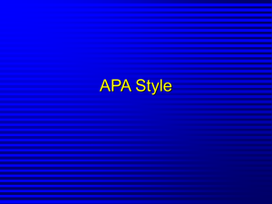 Introduction to APA Formatting
