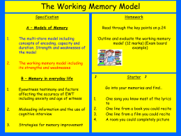 Lesson 5 - The Working Memory Model