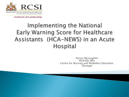 Implementing the National Early Warning Score for Healthcare