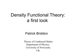 Density Functional Theory, part 1
