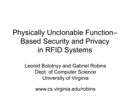 Physically Unclonable Function -Based Security and Privacy in RFID