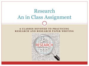 Notes and Plan for Research Assignment