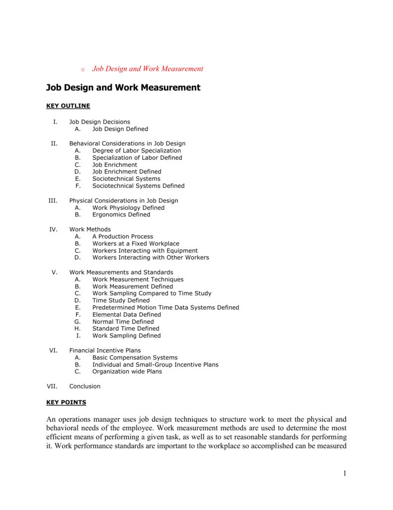 F Job Design And Work Measurement