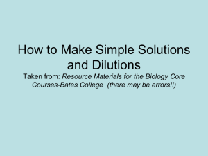 How to Make Simple Solutions and Dilutions