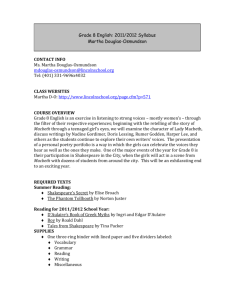 Grade 8 English: 2011/2012 Syllabus Martha Douglas