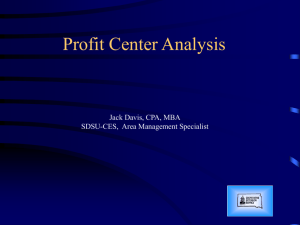 Profit Center Analysis