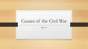Causes of the Civil War - Fredericksburg City Public Schools