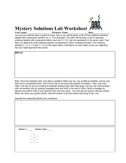 Mystery Solutions Lab Worksheet