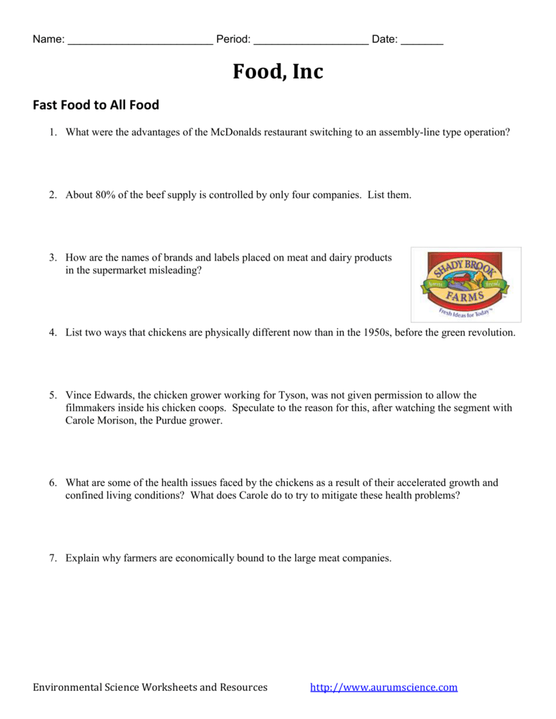 Food Inc Video Worksheet
