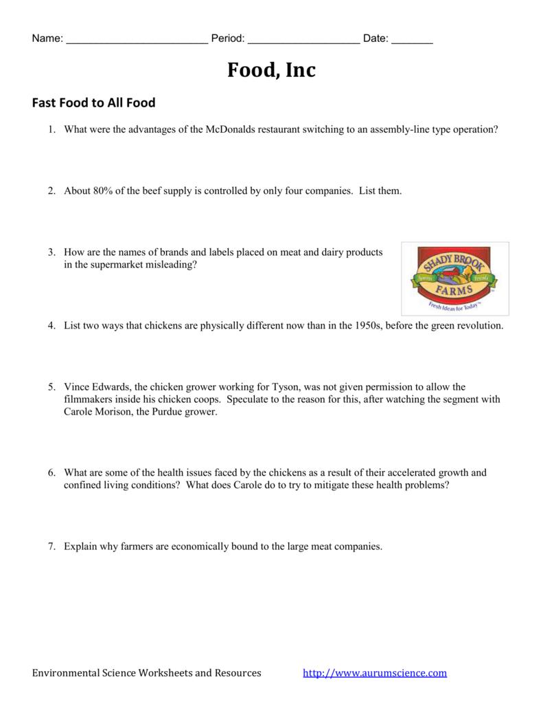 Food Inc - Video Worksheet For Food Inc Movie Worksheet Answers