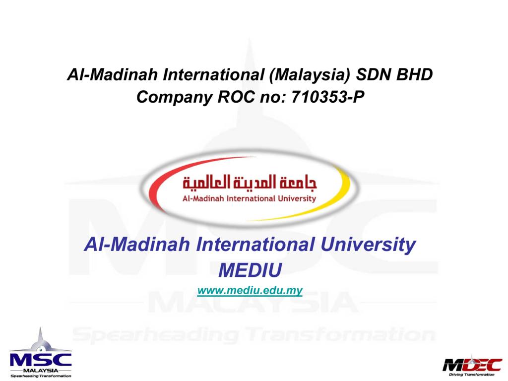 The Case Of Al Madinah International University