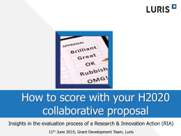 How to score with your H2020 collaboration proposal
