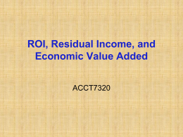 EVA, ROI, Residual Income