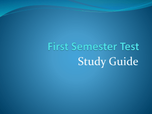 Study Guide - First Semester Test