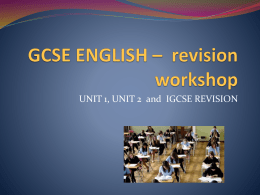english – unit 2 revision - Sprowston Community High School