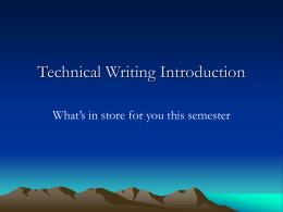 Technical Writing Introduction