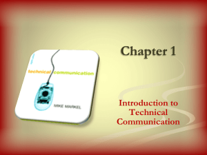Chapter 1 Introduction to Technical Communication Who produces