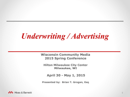 Underwriting / Advertising