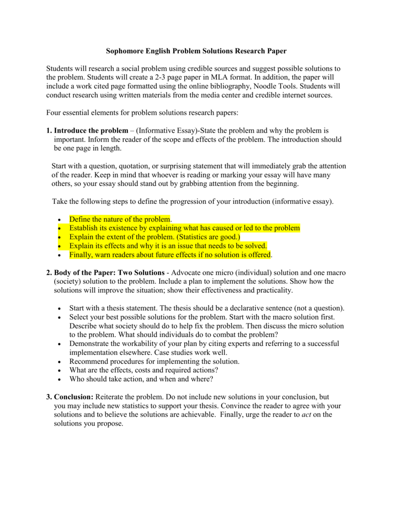 sophomore problem solution research paper