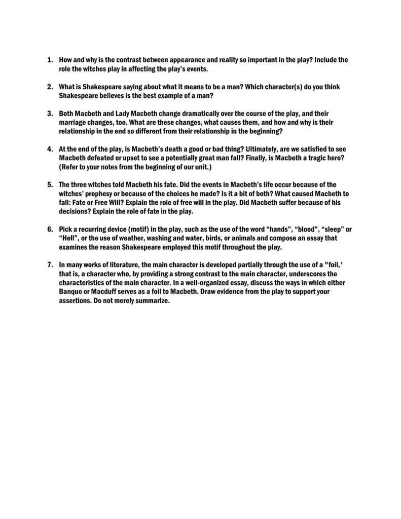 macbeth motif essay example violence Research paper, essay on macbeth here macbeths violence the character of macbeth is discovered to be a classic example of a tragic hero macbeth is a.