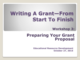 Developing Your Grant Proposal Idea