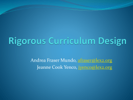 Rigorous Curriculum Design in Middle School Mathematics