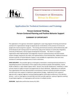 Summary of Opportunity - Research and Training Center on