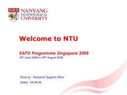 Staying on NTU Campus - Research