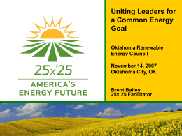 25x'25 Initiative - OREC | Oklahoma Renewable Energy Council