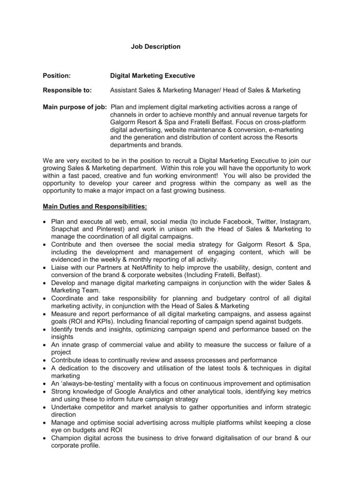 Job Description Position Digital Marketing Executive