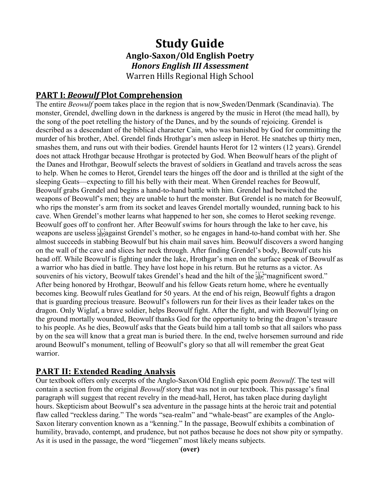 Study Guide Anglo Saxonold English Poetry Honors English Iii