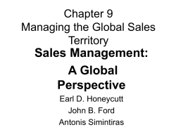 Managing the Global Sales Territory