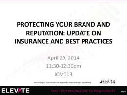 protecting your brand and reputation: update on insurance and best