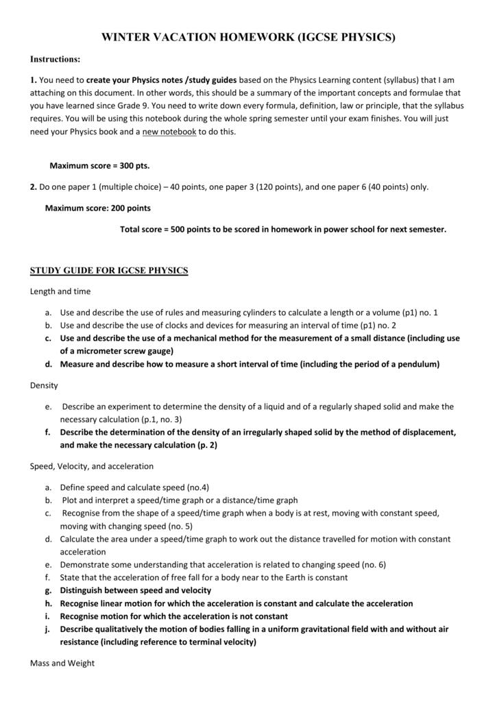 Grade 10 PHYSICS Winter Vacation Homework