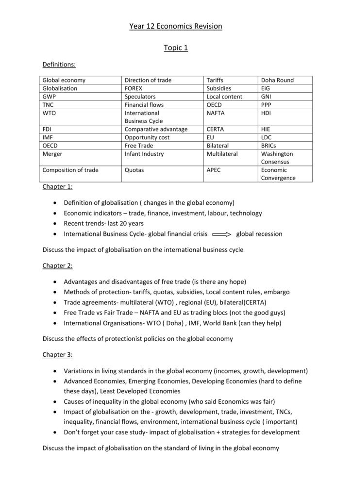 Year 12 Economics Revision Topic 1 Ais