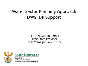 Water Sector Support IDP development DWS FS IDP Mgr Rep Forum 6 7