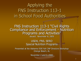 FNS Instruction 113-1 - Alabama Department of Education