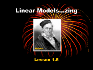 Linear Models…zing