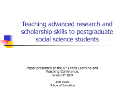 Reflective Practice in Educational Research: developing advanced