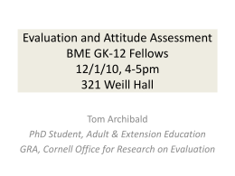 Evaluation and Attitude Assessment BME GK