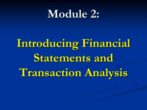Financial Statements and Transactions