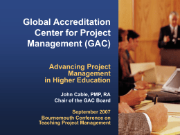 Advancing Project Management in Higher