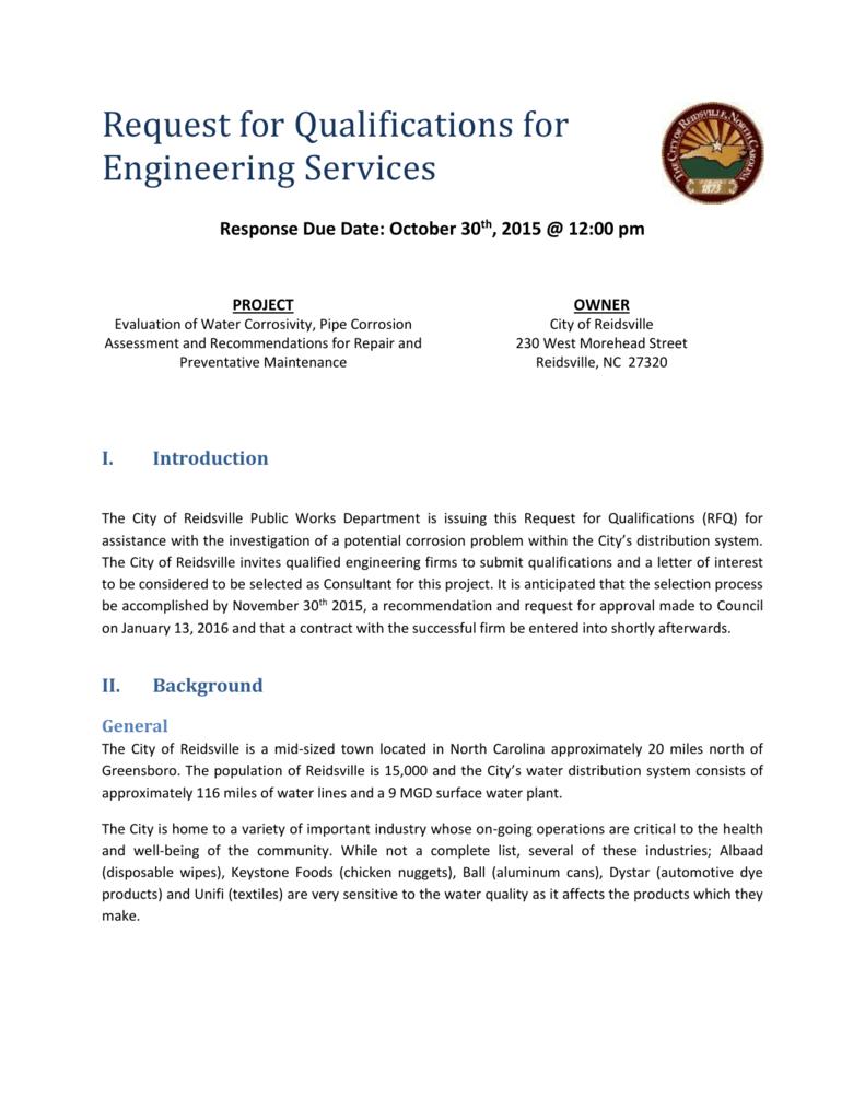 RFQ - Engineering Services/Corrosion Study