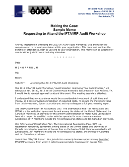 Sample Memo Requesting to Attend the IFTA/IRP Audit Workshop